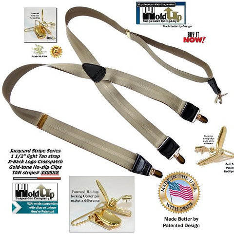 Holdup Stripe Series Tan-on-Tan Jacquard weave X-back suspenders with Patented gold-tone no-slip clips