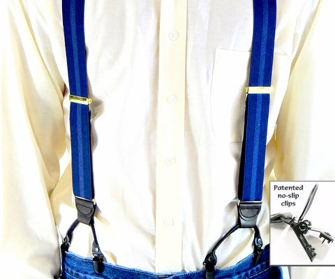 Contrasting Blue stripe jacquard weave Holdup suspenders with Y-back black leather crosspatch and dual patented black no-slip clips