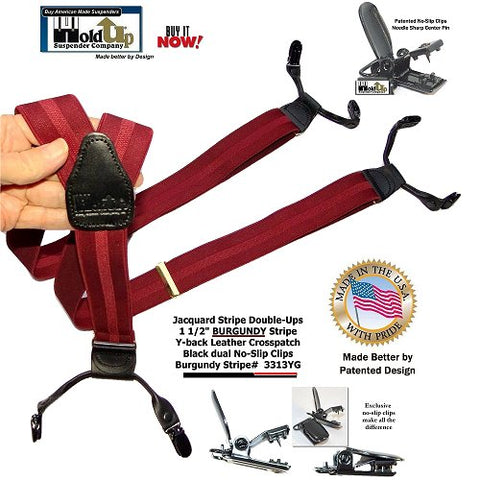 Holdup Suspender Company Burgundy Jacquard Stripe Suspenders in Double-up Style Suspenders with Black Patented No-slip clips with needle sharp center pin feature