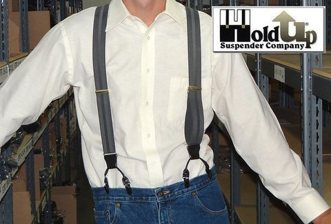 Gray on Grey Stripe dual clip Double-Up style Holdup dressy clip-on suspenders