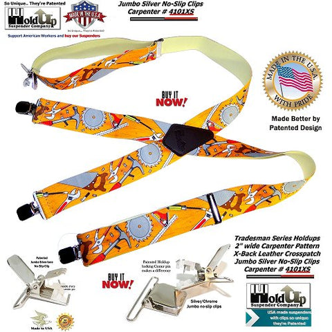 Holdup Brand Tradesmen Series Suspenders in Carpenter Pattern with Jumbo No-slip Center pin type Clips