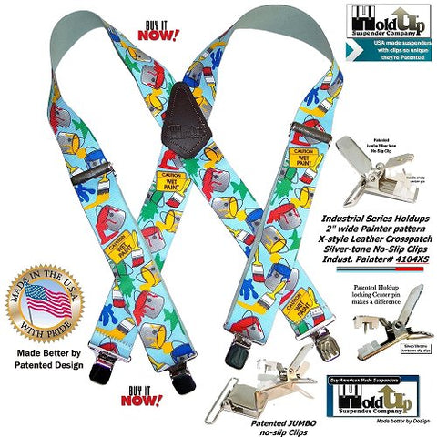 Holdup brand skilled Tradesman Painter Pattern heavy-duty x-back suspender with jumbo silver-tone no-slip clips