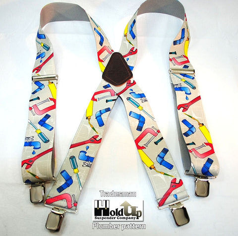 2 inch wide Tradesmen Pattern Holdup suspenders in Plumber pattern with jumbo no-slip clips