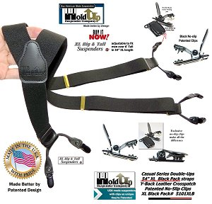 American made traditional button-on style black suspender braces with patented no-slip clips