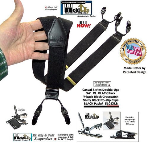 dressy dual-clip Double-Ups style suspenders have a dense finished poly-blend black elastic straps