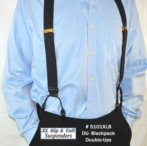 Black XL Holdup Suspnders in Double-Up Style are dressy clip-on suspenders made for the bigger and taller men
