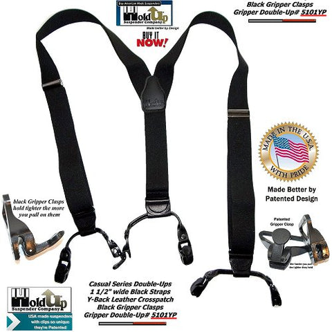 Casual Series Double-Up style Black Pack color dressy Holdup Suspenders with Patented composite plastic super strong griper clasps and they're made in the USA.