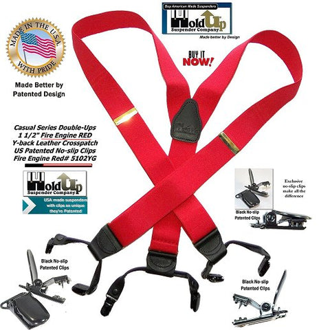 Bright Fire Engine Red dual clip Double-UP style Holdup Suspenders for businessmen wanting to get noticed in a crowd.