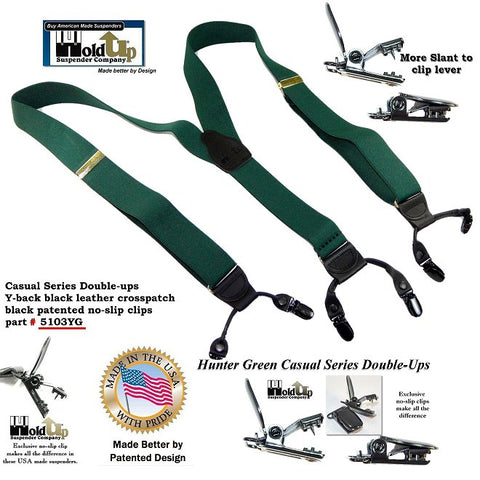Casual Series Dual Clip Double-Up dressy Hunter Green Holdup Suspenders with black patented no-slip clips