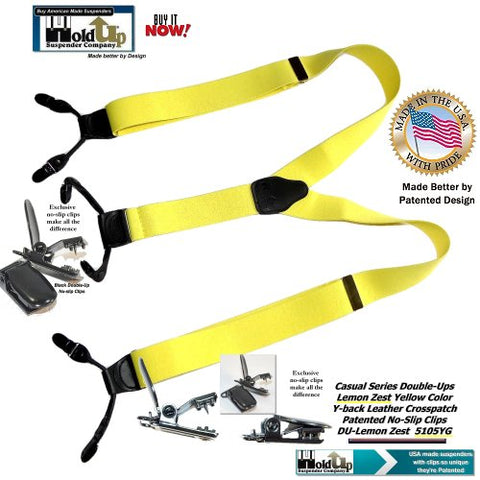 Light Lemon Zest Yellow dressy dual clip Holdup suspenders in classic Double-Up style with black no-slip clips and they're made in the USA.