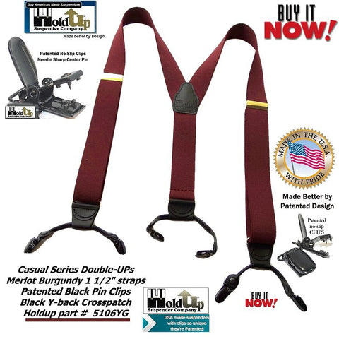 Dual Clip Double-Up style Holdup Suspenders in dark Merlot Burgundy color with black patented no-slip clips