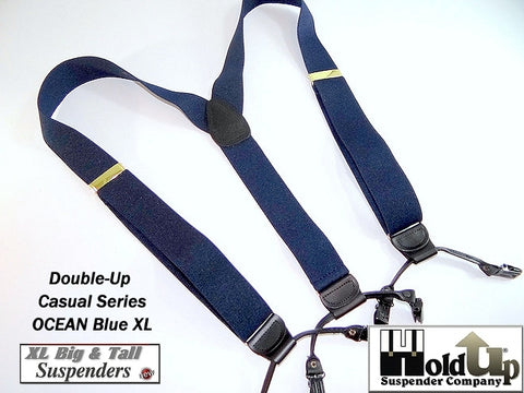 Extra Long Ocean Blue dual clip Double-Ups style Holdup dressy suspenders with black no-slip patented clips