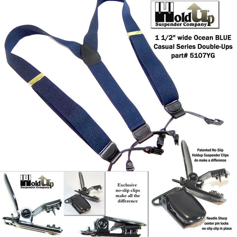 Ocean Blue Double-Up style Holdup brand dressy dual clip suspenders look like dark blue button-on braces