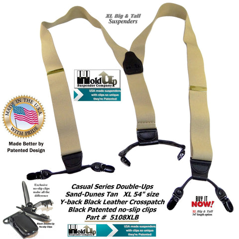 XL Dual Clip Double-Up style sand Dunes Tan Holdup suspenders for the bigger man needing suspenders