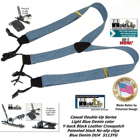 Casual Series Dual clip Double-Up style light blue denim colored Holdup suspenders with patented no-slip clips