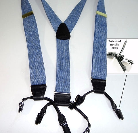 Hold-Ups Double-Ups Style Suspenders in a light Blue Denim Color and Y-Back crosspatch