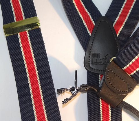 Navy and Red collegiate stripe dual clip Double-Ups style Holdup clip-on suspenders