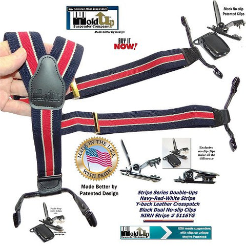 Holdup Brand Double-Up Style Navy blue and red striped men's Y-back suspender with white accent stripe and patented no slip clips