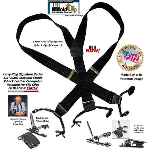 Limited Edition Larry King Signature Series Black Holdup Suspenders in Double-Up Style with Patented No-slip clips