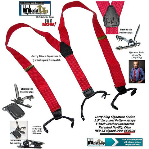 Limited Edition Larry King Signature Series Red Holdup Suspenders in Double-Up Style with Patented No-slip clips