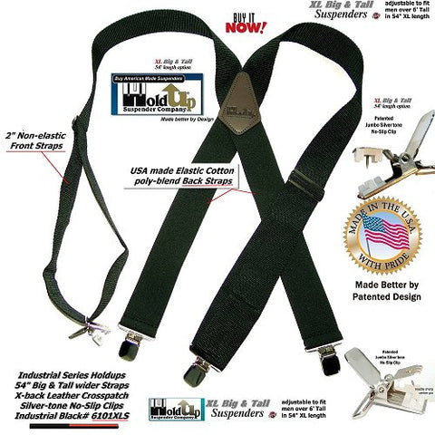 Industrial Series Black Holdup X-back Heavy Duty work suspenders with jumbo No-slip clips
