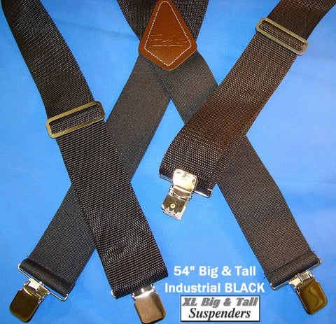 Heavy Duty black X-back Holdup work suspenders in the Industrial Series