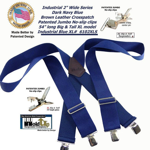 "Holdup Suspenders Industrial 2"" Wide XL Work Suspenders with Non-elastic Straps and Jumbo Silver No-slip Clips"