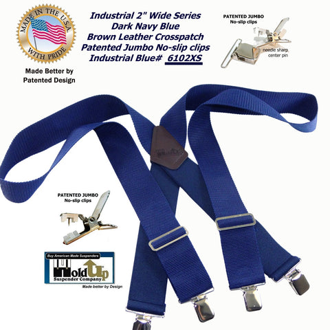 The 2x4 Jumbo clip industrial series dark blue non-elastic work suspenders
