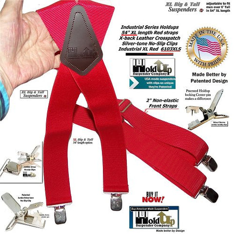 "XL RED Industrial 2"" Wide Non-elastic Suspenders with No-slip Jumbo Silver Clips and they're made in the USA."