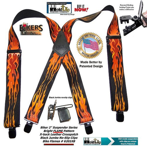 Red and Orange Flame pattern clip-on suspenders in X-back style and jumbo center pin no-slip clips