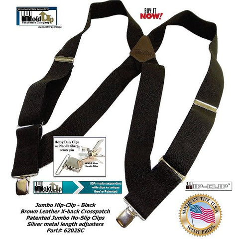2 inch wide Black Trucker style side clip Holdup Suspenders with Silver jumbo no-slip clips and Logo embossed Brown Leather Crosspatch.