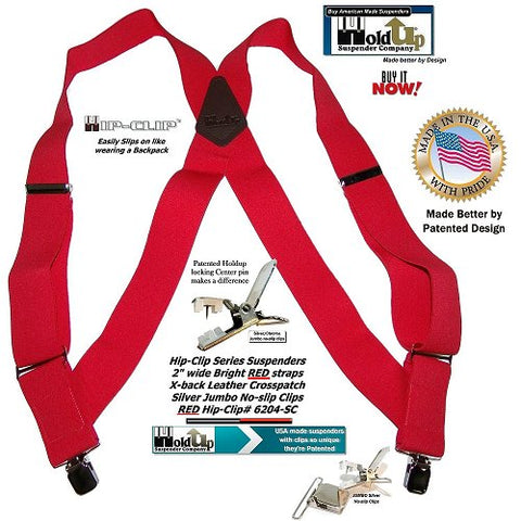 "USA made Holdup Brand bright red 2"" wide side-clip style suspender we trademarked as the Hip-Clip"