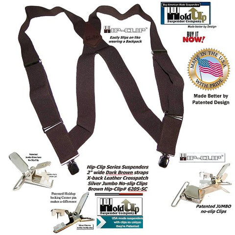 "USA made Holdup Brand dark brown 2"" wide side-clip style suspender we trademarked as the Hip-Clip"