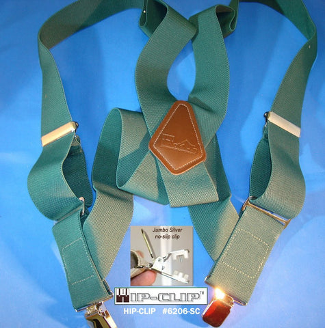 "Dark Green 2"" wide Hip-Clip style Holdup suspenders with Patented silver tone jumbo No-slip clips"