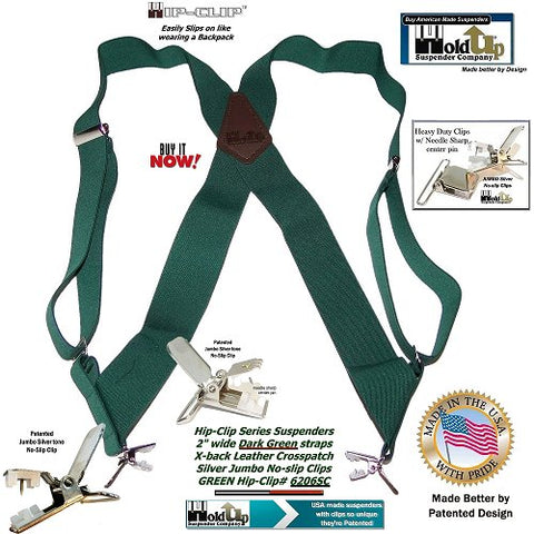 Dark Green USA made Hip-Clip wide side clip Holdup suspenders with jumbo silver no-slip clips