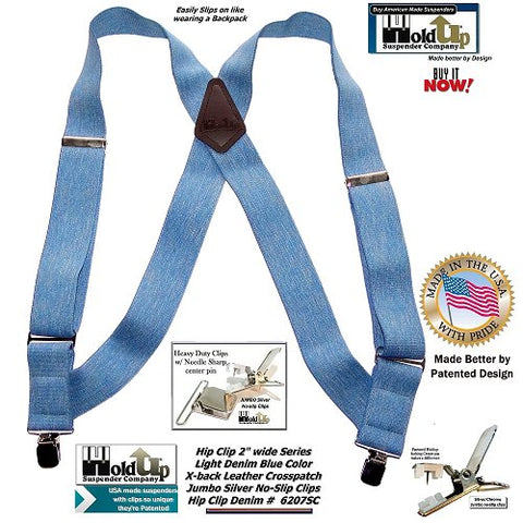 Hip-Clip Blue Denim color 2 inch wide side clip Holdup Suspenders with Jumbo Silver No-slip center pin type clips