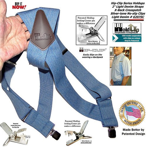 Light Blue Denim Side clip Holdup Hip-Clip Suspenders with patented jumbo no-slip clips