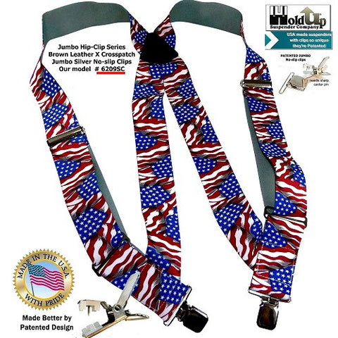 "Hip-Clip Series Holdup 2"" wide side clip suspenders in USA Flag pattern featuring our jumbo silver-tone no slip clips"