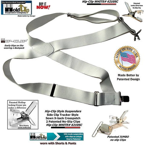 "Holdup Brand Hip-clip Series all White 2"" wide side clip work Suspenders and they're made better in the USA by patented & Trademarked design."
