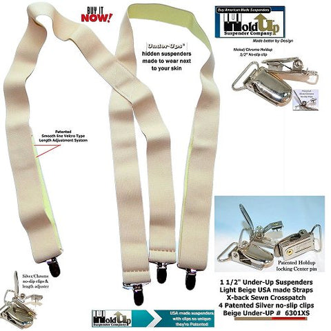 "1 1/2"" Beige Under-Up hidden X-back Holdup suspenders worn under any loose fitting shirt"