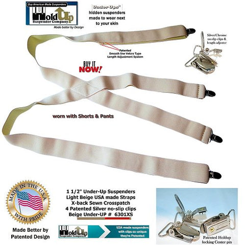 USA made  X-back styled HoldUp Trademarked Under-Ups Series with 4 patented chrome/silver NO-SLIP clips