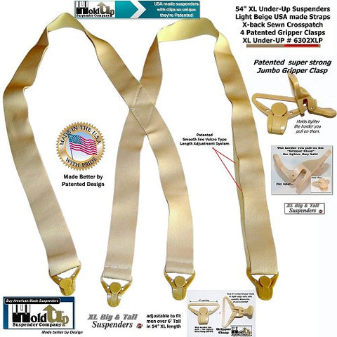 XL Big and Tall version of the beige No-Alarm Holdup Undergarment suspenders with patented Gripper Clasps