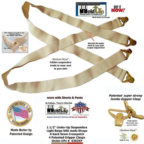Light beige hidden Undergarment x-back Holdup suspenders with patented beige Gripper Clasps