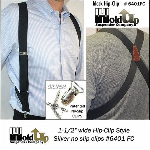 Black Hip-Clip Series Holdup side-clip suspenders with X-back crosspatch