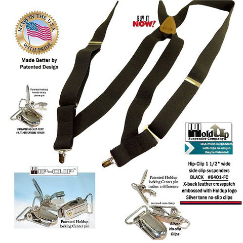 USA made Hip-Clip black suspenders with brown leather X-back crosspatch and silver no-slip clips