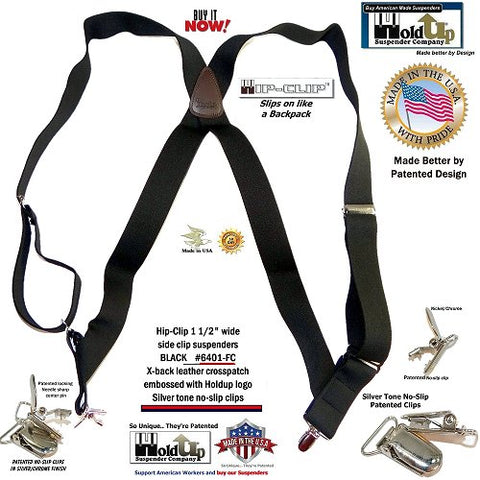 "Holdup Black 1 1/2"" Hip-Clip side clip-on suspenders with patented silver-tone no-slip center pin type clips"