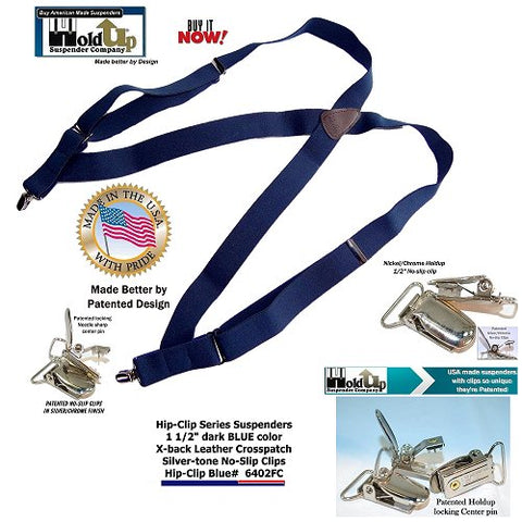 Trucker style side clip-on Holdup brand suspenders in Navy blue colors with patented no-slip clips