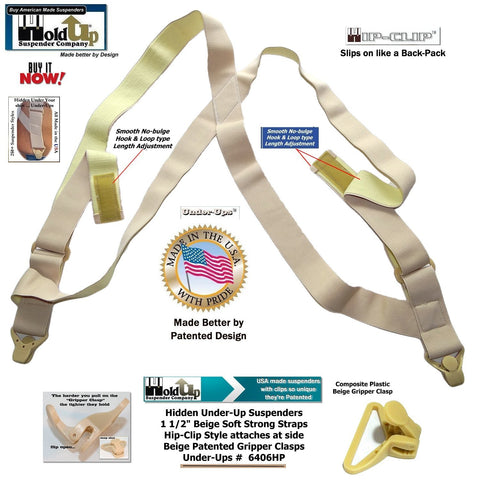 HoldUp Brand Specialty Series Under-Up Tan Suspenders with Patented Beige Gripper Clasp