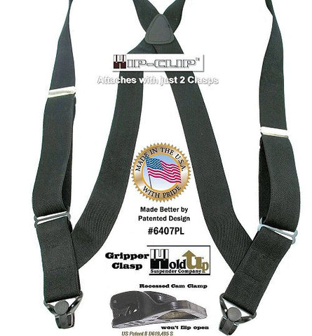 Black Hip-Clip Series Holdup side clip suspenders with black Gripper Clasps and they're made in the USA