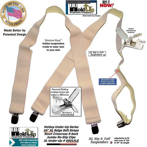 "Big and Tall men's X-back Holdup 2"" wide undergarment soft fabric beige suspenders with patented no-slip clips"